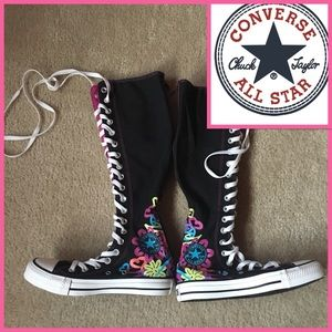 Knee high top black floral converse